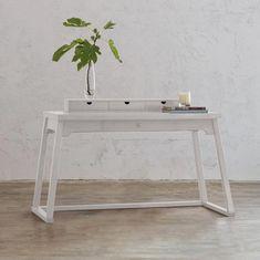 AMARA LA SALLE TEAK DESK | WHITE Furniture Update, Large Furniture, Modern Desk, Mid-century Modern, White Desks, Online Furniture Stores, Nordic Design, Open Shelving, Teak