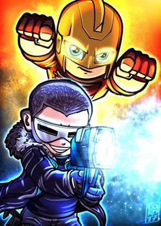 """""ColdRay"" More adventures w/ these two pls! Marvel Dc, Chibi Marvel, Legends Of Tommorow, Dc Legends Of Tomorrow, Dc Comics Superheroes, Dc Comics Art, Comic Book Characters, Marvel Characters, Lord Mesa Art"