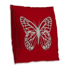 Custom Silver Grey Butterfly Red Burlap Throw Pillow For Baby, Kids room on CafePress.com