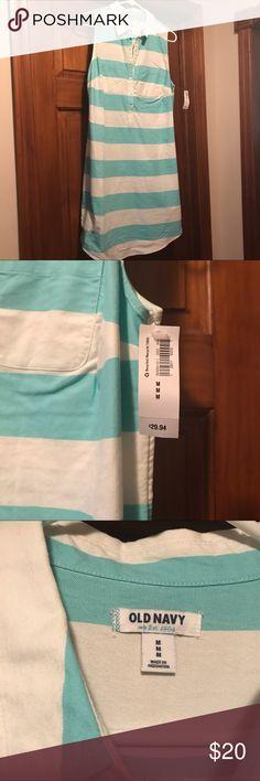 Teal Blue and White Striped Dress NWT teal blue and white striped Old Navy dress Old Navy Dresses Midi