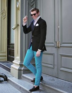 Aqua jeans (not sure I like it with the black suit jacket though).