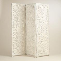 One of my favorite discoveries at WorldMarket.com: White Hand Carved Wood Screen
