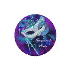 Masquerade Ball Party Teal Blue Purple Masks Favor Candy Tins by Zizzago.com