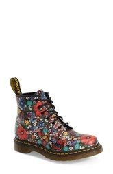 Dr. Martens '101' Floral Print Leather Boot (Women)