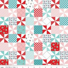Country Girls Fabric Country Patchwork Aqua by 44thStreetFabric