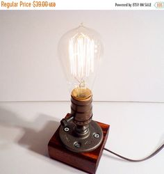 ON SALE Classic style Edison Bulb table lamp in Red Mahogany - Antiqued finished wood base - Steam punk style light New york loft industrial