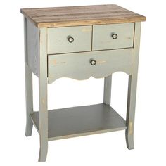 Showcasing a scalloped apron and distressed gray finish, this wood side table offers rustic appeal for your living room or home library Product: Side tableConstruction Material: WoodColor: GrayFeatures: Three drawersDimensions: H x W x D Grey Wood, Gray, Wood End Tables, Cool Furniture, Furniture Ideas, Bookcase, Sweet Home, New Homes, Interior Design