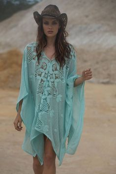 ▓█ ❥ႽႵεpჩαniễ Rεnẳε®™ ~ My Personal Style: Turquoise Caftan & a cowboy hat,  especially in summer..  Love this look!❤