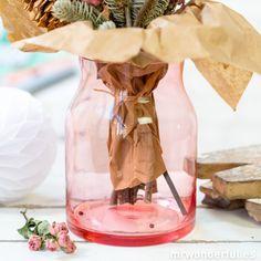Jarrón de cristal de color rosa #pink #vase #mrwonderfulshop #flowers #home #decor