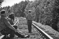 Boy, Parents, Walking, Railroad Tracks, Black And White