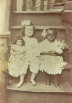 Vintage Girls & their Dolls, late 1800s?