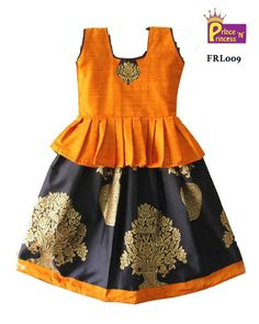 Grand Gold Silver Jari Pattu Pavadai for Little Princess. Beautiful Pattu Pavadai/Lehenga for Festival , Functions and Special Occassion Silver jari Top Gold Silver Banarasi Silk Skirt Size : - 6 Years ( Body Type ) , Years (Lehenga Type) Sleeves Baby Girl Frocks, Frocks For Girls, Little Girl Dresses, Kids Dress Wear, Kids Gown, Kids Wear, Baby Frocks Designs, Kids Frocks Design, Kids Lehenga