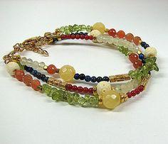Multi strand gemstone bracelet Boho layered beaded by ShopPretties, $75.00