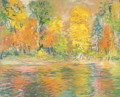 """Autumn along the Cascapedia River, Quebec, Canada,"" Arthur C. Goodwin, 1921, pastel on paper, 17 x 21"", Spanierman Gallery."