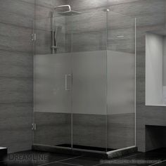 DreamLine DL-6113L-04CL Unidoor Plus 35 in. W x 30-3/8 in. D x 72 in. H Hinged Shower Enclosure, Half Frosted Glass Door, Chrome Finish Hardware