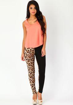 Sarrah Leopard Contrast #Leggings  #Fashion  #Leopard