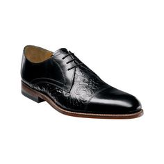 Men's Stacy Adams Madison II Cap Toe Lace 00073 - Black Leather Casual ($140) ❤ liked on Polyvore featuring men's fashion, men's shoes, men's dress shoes, black, casual, lace up shoes, mens oxford shoes, mens lace up shoes, mens cap toe dress shoes and mens leather shoes