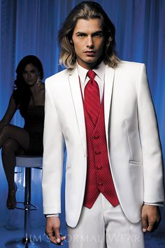 Pure Love - Valentine Formal Wedding.  White and red tuxedo.