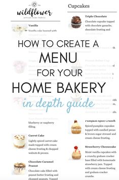 In depth guide on how to create the best menu for your home bakery! What to sell, what to charge, how many options to offer & more! Menu For Your Home Bakery - Bakery Business Plan, Baking Business, Catering Business, Cake Business, Food Business Ideas, Business Planner, Business Branding, Bakery Menu, Bakery Cafe