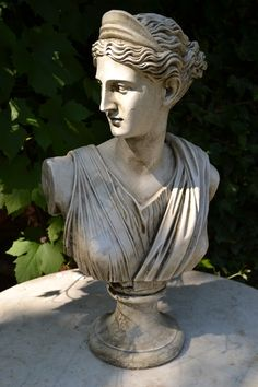 Diana Roman goddess bust statue a beautiful bust of Diana the Roman goddess of the hunt and wild animals hand cast at our workshops in Sussex in