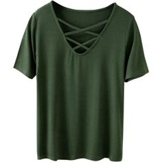 Strappy T-Shirt Army Green ($19) ❤ liked on Polyvore featuring tops, t-shirts, zaful, army green top, strappy top, green t shirt, olive green t shirt and green tee