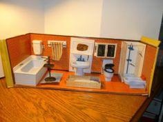 Vintage Mid Century Mod Dollhouse Furniture Modella Bathroom Box Suite Unused | eBay