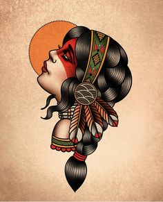 Traditional Tattoo Face, Traditional Tattoo Old School, Pin Up Girl Tattoo, Girl Tattoos, Tattoos For Women, Desenhos Old School, Dots To Lines, Old School Tattoo Designs, Native American Images