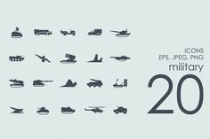20 military icons by Palau on Creative Market