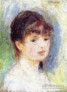Pierre Auguste Renoir Portrait Of A Young Woman Oil Painting Reproductions for sale Pierre Auguste Renoir, Renoir Paintings, Impressionist Paintings, Claude Monet, August Renoir, Georges Seurat, Manet, Oil Painting Reproductions, Portraits