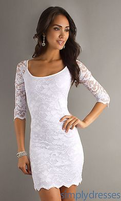 """Short White Lace Dress, White Homecoming Dresses - Simply Dresses """"why hello there white slim dress u are beautiful all I need is a woman that I can take it off that actually fits that size lol """" White Lace Dress Short, Lace Dress With Sleeves, Dress Up, White Dress, Dress Lace, Navy Lace, Half Sleeves, Dresses Short, Hoco Dresses"""