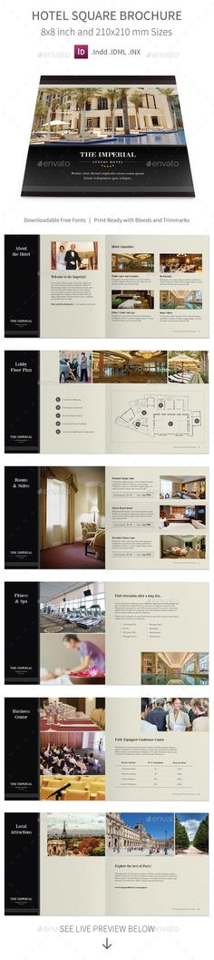 Hotel Square Brochure — InDesign INDD #guest #restaurant • Available here → https://graphicriver.net/item/hotel-square-brochure/10721469?ref=pxcr