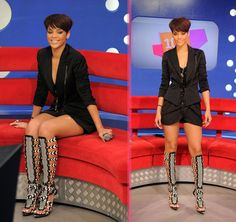 Rihanna Fashion Killer Shoes - these shoes are everything and then some! Estilo Rihanna, Rihanna Riri, Rihanna Style, Rihanna Fashion, Dope Fashion, Gladiator Boots, Evening Outfits, Island Girl, Beautiful Black Women