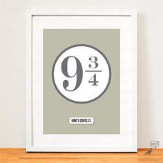 Boys Room Decor Harry Potter Platform 9 3/4 Poster by WordBirdShop, $10.00