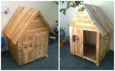 Children's playhouse in the front yard from reclaimed pallets. Facade from the roof down opens up outwards to put in an aluminum rack for clothes to dry when it is raining! Still needs sanding and painting.    #Kids, #KidsPlayhouse, #PalletHut, #RecycledPallet