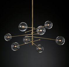 "Glass Globe Mobile 8-Arm Chandelier 64"""