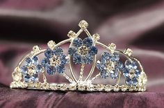 Beautiful Princess Bridal Wedding Tiara Crown with LT Blue Crystal Flower DH15764c *** This is an Amazon Affiliate link. Read more reviews of the product by visiting the link on the image.