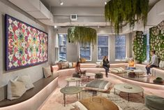 Mancini Duffy has realized the design of the The Assemblage Coworking offices located in New York City, New York. Fresh off the base building renovation Tiered Seating, Small Lounge, Commercial And Office Architecture, Office Design Trends, Space Design, Lounge Areas, Coworking Office, Nyc Design, Office Design