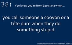 38...You know you're from Louisiana when...you call someone a cooyon or a tete dure when they do something stupid.