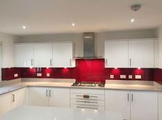 painting Glass Kitchen 35 Top Red Kitchen Design Ideas Trends to Watch for in 2018 Red Kitchen Tiles, Kitchen Units, Glass Kitchen, Kitchen Colors, Kitchen Cabinets, Kitchen Glass Splashbacks, Kitchen Flooring, Grey Kitchens, Cool Kitchens