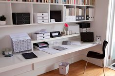 clean, simple uncluttered home office space