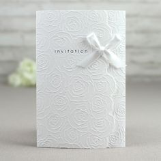 White Ribbon Wedding Invitations, Free Wedding Invitation samples for discount code. Embossed Wedding Invitations, Discount Wedding Invitations, Classy Wedding Invitations, Wedding Invitation Cards, Wedding Cards, Ribbon Wedding, Wedding Stationery, White Roses Wedding, Rose Wedding