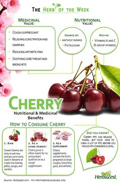 HerbaZest: Cherries are full of antioxidants and micro nutrients, which have many health benefits and medicinal uses. Learn exactly which ones in the following infographic. Tags: #HerbaZest #Cherry #Infographic #Nutrition #Superfood