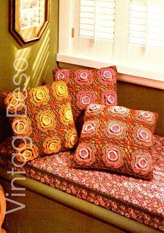 EASY Rose Crochet Pattern Retro 70s Pillow Crochet Pattern Trio of Roses CROCHET FLOWER Instant Download Bohemian Home Decor Pattern PdF