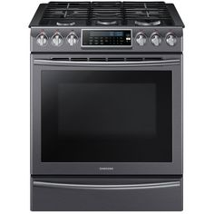 Samsung 5.8 cu. ft. Slide-In Range with Self-Cleaning Dual Convection Oven in Black Stainless Steel-NX58K9500WG - The Home Depot