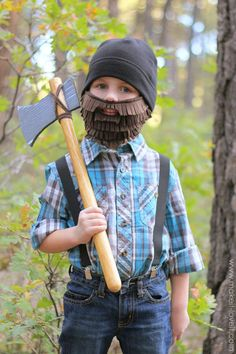 """Boys will be ready to chop down trees and yell """"timber!"""" with this easy DIY costume. Create a fuzzy beard with felt and an axe out of cardboard and a wooden stick."""
