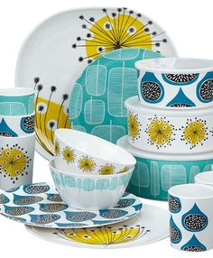 I wanted to point out this excellent new picnicware by MissPrint at John Lewis. The MissPrint family team of Rebecca, Lee, and Yvonne Dru. Mid Century Art, Mid Century Decor, Mid Century House, Mid Century Design, Delft, Royal Copenhagen, Retro Home, Royal Doulton, Decoration Table