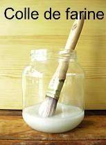 Colle de farine. Sert aussi de vernis mat. 1 verre de farine, 1 cuillère de sucre, 1 verre d'eau et sur le feu