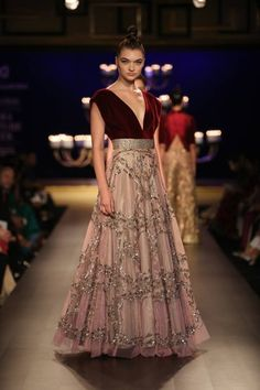 Manish Malhotra at India Couture Week 2014 - peach pink dress lehnga with deep red maroon v-neck blouse