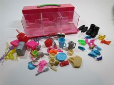 Lot of Assorted Barbie Accessories with Case - Shoes Luggage Mirrors