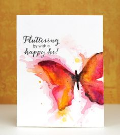 """WC'g using stencil (""""Place the """"stencil"""" over your watercolor paper and apply watercolor paints to the body and wings of the butterfly. Once dry, remove the stencil, and paint the background area surrounding the butterflies."""")"""